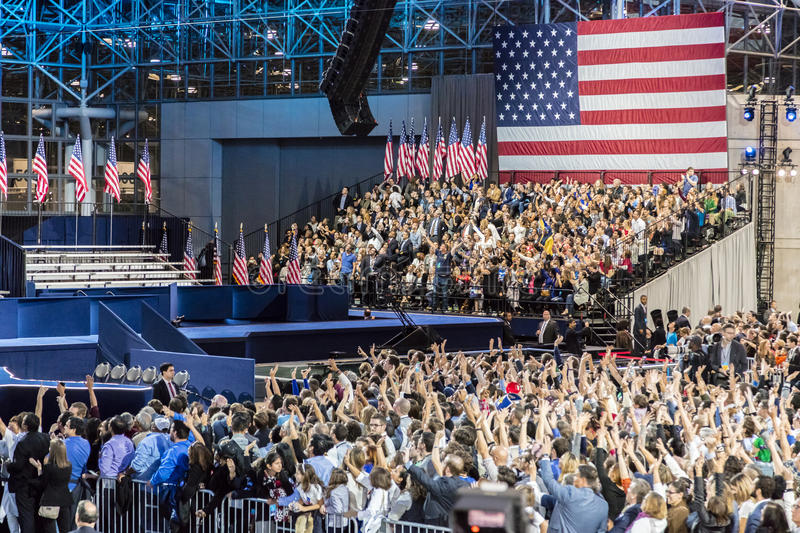 NOVEMBER 8, 2016, Supporters of Hillary Clinton Election Night at Jacob K. Javits Center - venue for Democratic presidential nomin stock photo