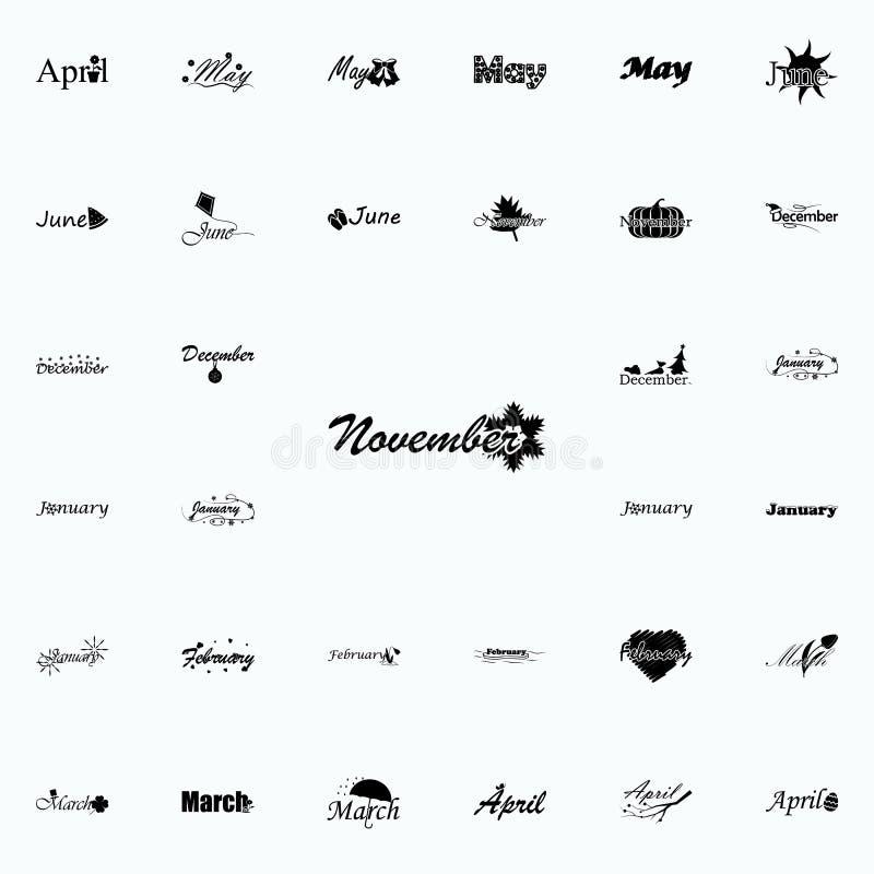 November symbol Namn av den universella uppsättningen för månadsymboler för rengöringsduk och mobil royaltyfri illustrationer