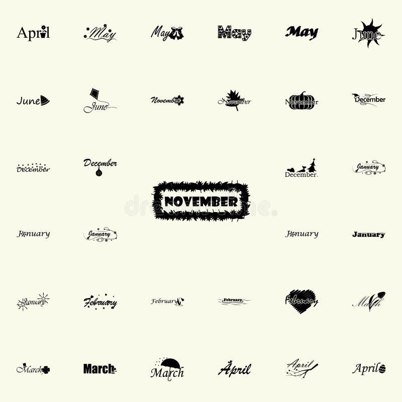 November symbol Namn av den universella uppsättningen för månadsymboler för rengöringsduk och mobil vektor illustrationer