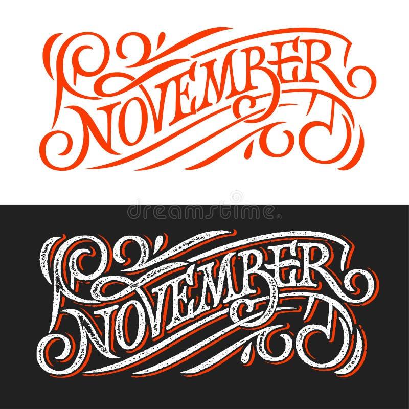 November tappningbokstäver på den svart tavlan Bokstäver på vit- och svartbakgrund Vektormall för banret, hälsningkort, stolpe vektor illustrationer