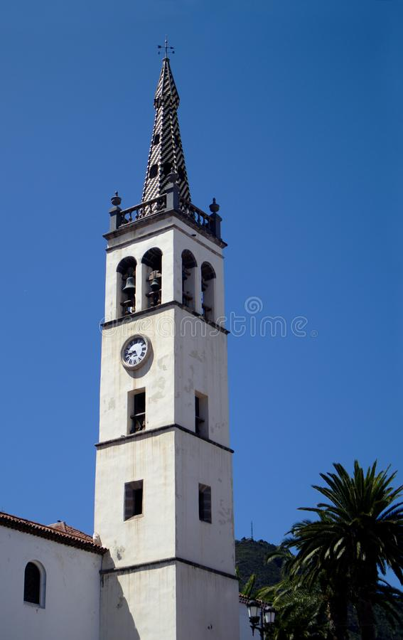 Bell tower of the Main Parish of the Apostle Santiago, Los Realejos. November, 2019. Tenerife, Canary Islands, Spain. Bell tower of the Parish of the Apostle stock image