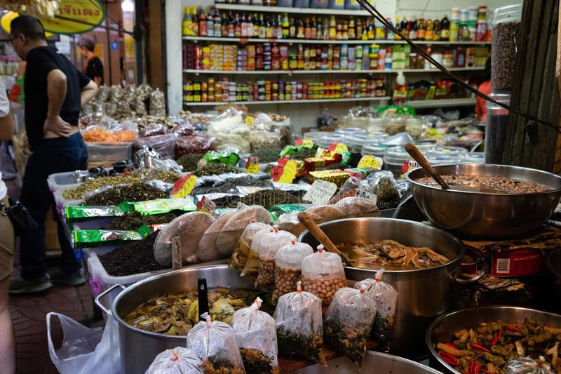 November 20th, 2018 - Bangkok THAILAND - Different types of cooked food in a market in Bangkok royalty free stock photos