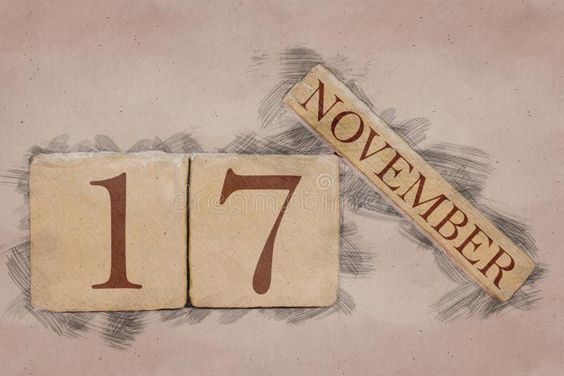 November 17th. Day 17 of month, calendar in handmade sketch style. pastel tone. autumn month, day of the year concept. Time, light, background, date, number royalty free stock photo