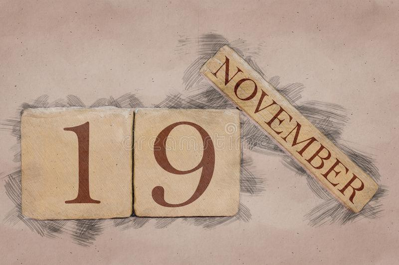 November 19th. Day 19 of month, calendar in handmade sketch style. pastel tone. autumn month, day of the year concept. Time, light, background, date, number stock images