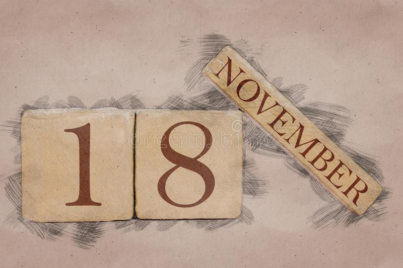 November 18th. Day 18 of month, calendar in handmade sketch style. pastel tone. autumn month, day of the year concept. Time, light, background, date, number royalty free stock photography