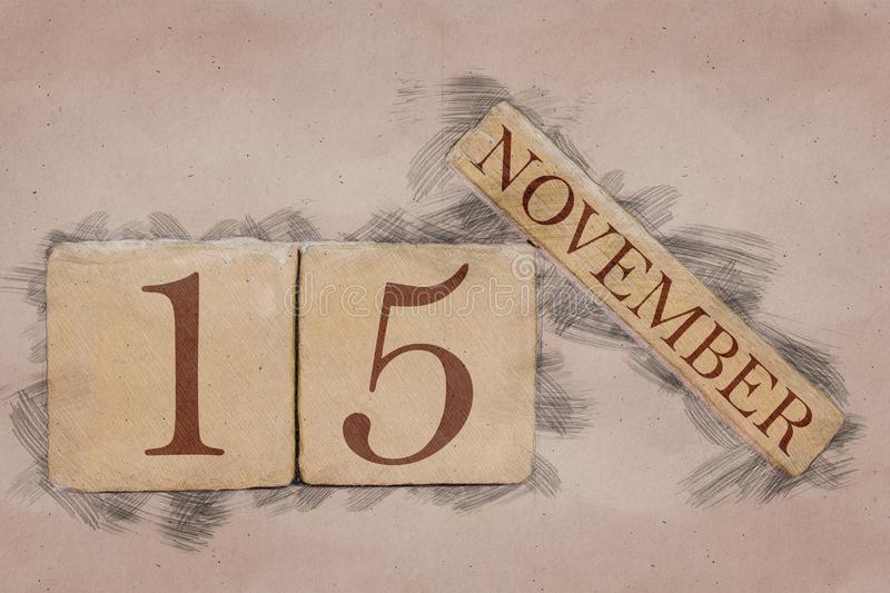 November 15th. Day 15 of month, calendar in handmade sketch style. pastel tone. autumn month, day of the year concept. Time, light, background, date, number royalty free stock photography