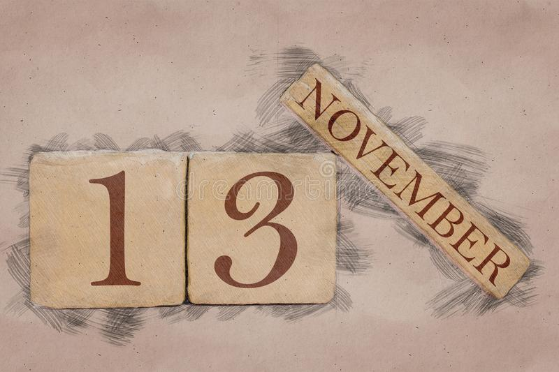November 13th. Day 13 of month, calendar in handmade sketch style. pastel tone. autumn month, day of the year concept. Time, light, background, date, number royalty free stock image
