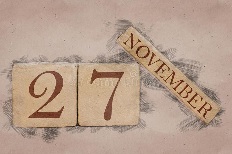 November 27th. Day 27 of month, calendar in handmade sketch style. pastel tone. autumn month, day of the year concept. Time, light, background, date, number stock images