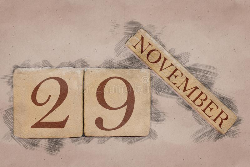 November 29th. Day 29 of month, calendar in handmade sketch style. pastel tone. autumn month, day of the year concept. Time, light, background, date, number royalty free stock image