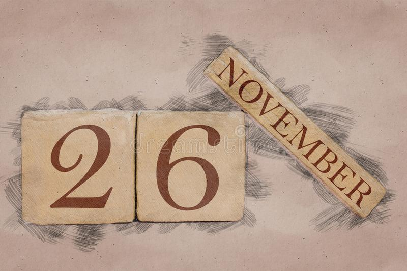 November 26th. Day 26 of month, calendar in handmade sketch style. pastel tone. autumn month, day of the year concept. Time, light, background, date, number stock photos