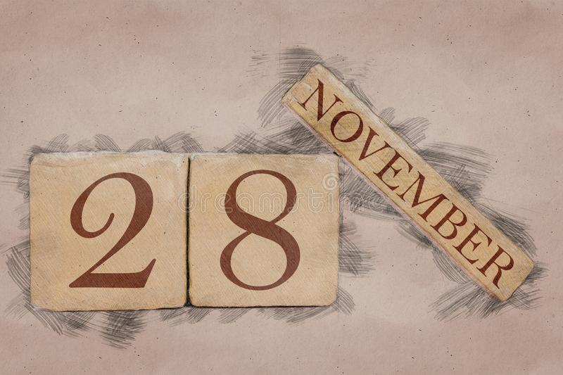November 28th. Day 28 of month, calendar in handmade sketch style. pastel tone. autumn month, day of the year concept. Time, light, background, date, number royalty free stock image