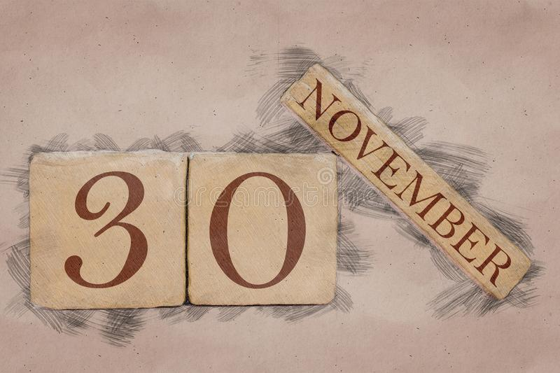 November 30th. Day 30 of month, calendar in handmade sketch style. pastel tone. autumn month, day of the year concept. Time, light, background, date, number royalty free stock photography