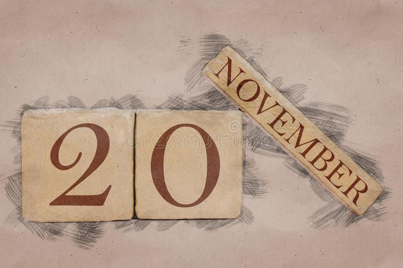 November 20th. Day 20 of month, calendar in handmade sketch style. pastel tone. autumn month, day of the year concept. Time, light, background, date, number royalty free stock image