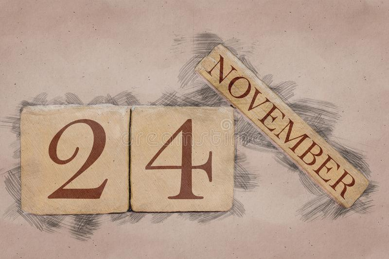 November 24th. Day 24 of month, calendar in handmade sketch style. pastel tone. autumn month, day of the year concept. Time, light, background, date, number stock photo
