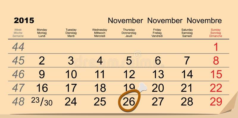 November 26, 2015 Thanksgiving Day. Chicken leg symbol on calendar. Illustration in vector format stock illustration