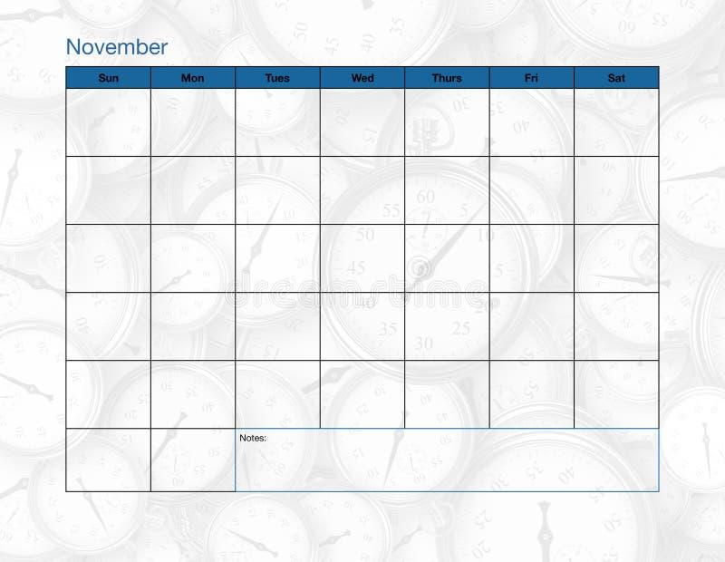 November tom kalender royaltyfri fotografi
