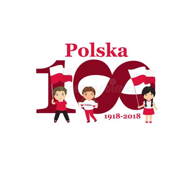 11. November Unabhängigkeitstag-Grußkarte Polens glückliche Jahrestag 100 Text auf Polnisch: Polen 1918-2018 vektor abbildung