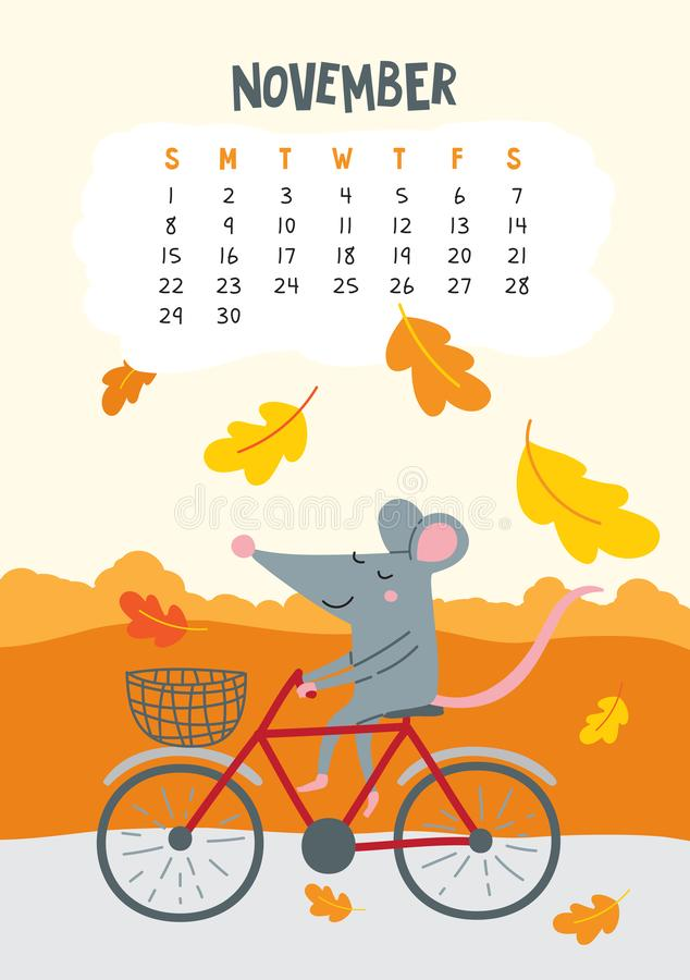 Free November. Vector Calendar Page With Cute Rat Riding Bicycle Stock Photos - 158219763