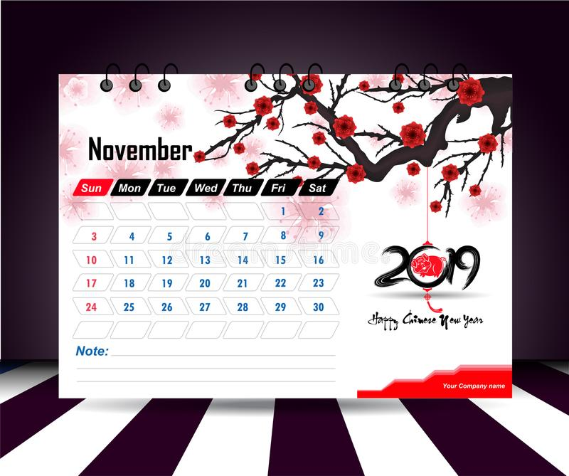 November 2019. Wall calendar planner template. Vector design print template with place for photo. Week starts on Sunday. Wall calendar 2019 planner template royalty free illustration