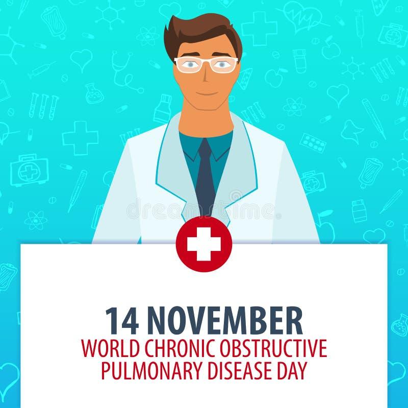 14 November. World Chronic Obstructive Pulmonary Disease day. Medical holiday. Vector medicine illustration. royalty free illustration