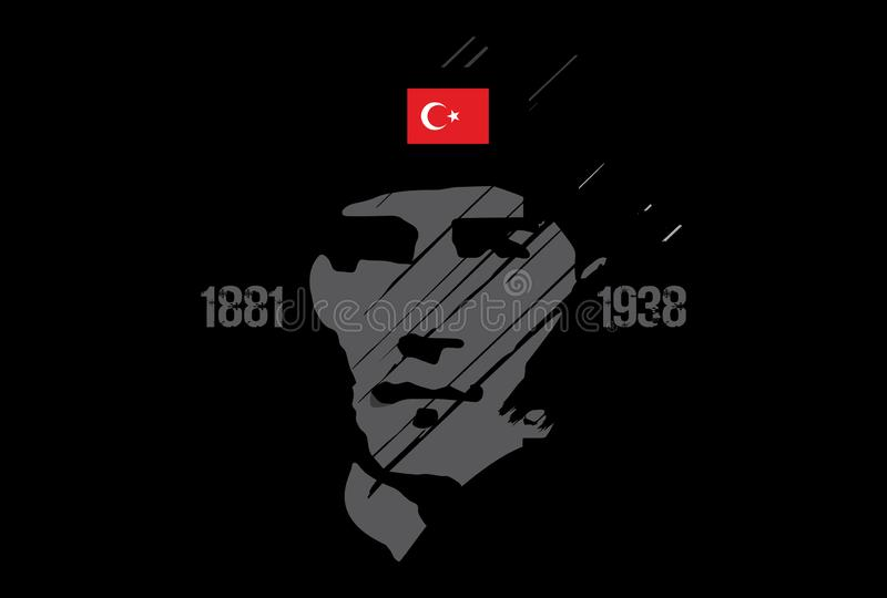 10 novembre, anniversaire de Mustafa Kemal Ataturk Death Day illustration stock
