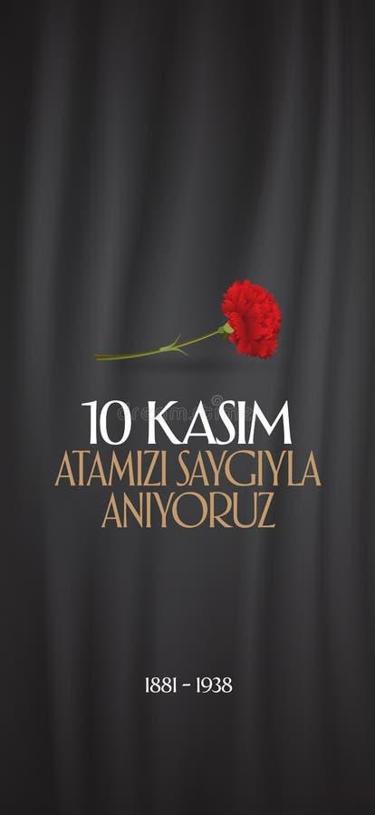 10 novembre, anniversaire de Mustafa Kemal Ataturk Death Day Jour du Souvenir d'Ataturk Conception de panneau d'affichage illustration stock