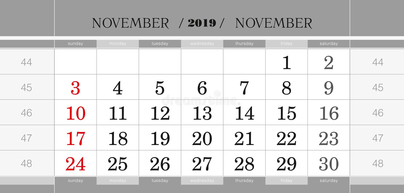 Novembre 2019 blocchetto di calendario trimestrale Calendario murale in inglese, inizio di settimana a partire da domenica royalty illustrazione gratis