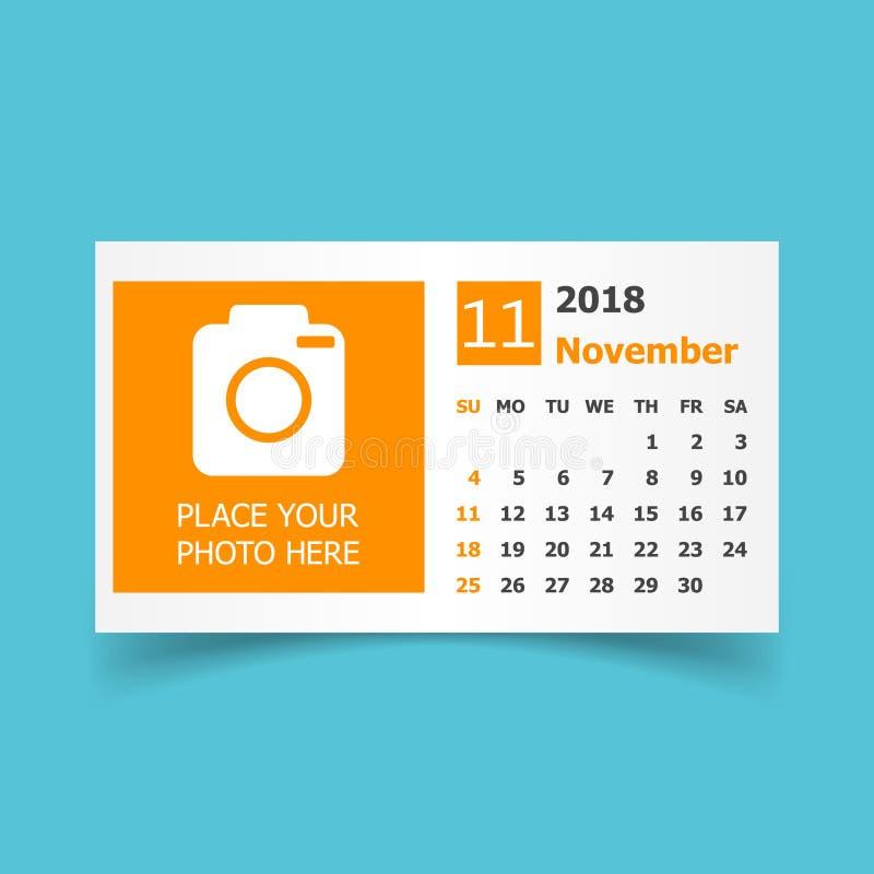 Novembre 2018 calendrier Calibre de conception de planificateur de calendrier avec le pl illustration de vecteur