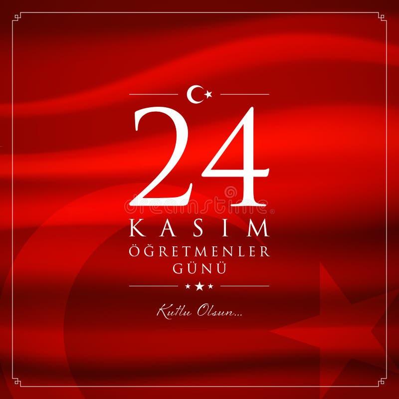 24 novembre, carta turca di celebrazione di giorno degli insegnanti royalty illustrazione gratis