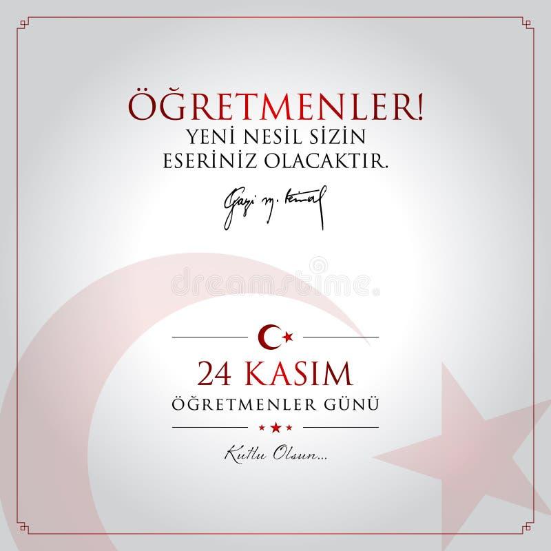 24 novembre, carta turca di celebrazione di giorno degli insegnanti illustrazione vettoriale