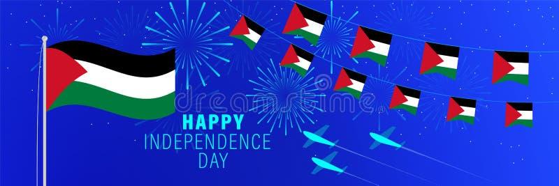 15 novembre cartolina d'auguri di festa dell'indipendenza della Palestina Fondo di celebrazione con i fuochi d'artificio, le band illustrazione di stock