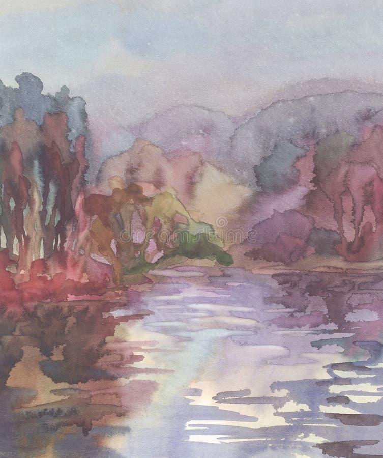 Novembre colora il fondo dell'acquerello illustrazione vettoriale