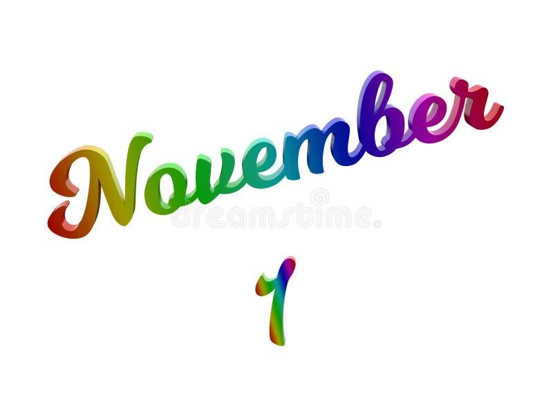 1° novembre data del calendario di mese, 3D calligrafico ha reso l'illustrazione del testo colorata con la pendenza dell'arcobale royalty illustrazione gratis
