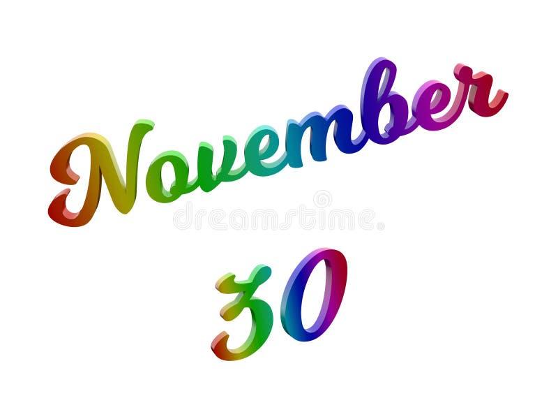 30 novembre data del calendario di mese, 3D calligrafico ha reso l'illustrazione del testo colorata con la pendenza dell'arcobale illustrazione di stock