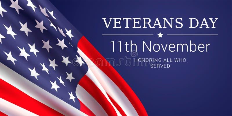 11 novembre - giornata dei veterani Onorando tutti che serviscano royalty illustrazione gratis