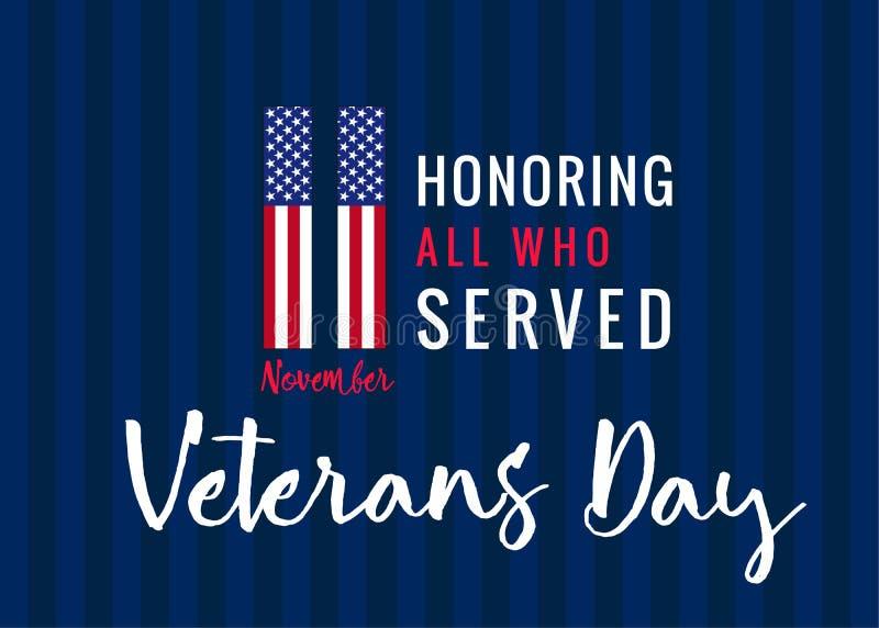 11 novembre honorant tous ce qui ont servi, affiche des Etats-Unis de jour de vétérans illustration stock