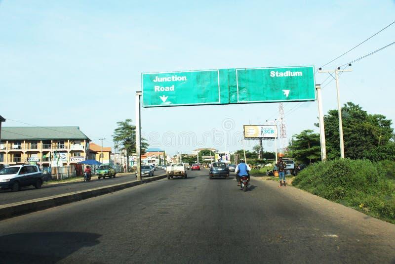 2 novembre 2019 immagine di un'autostrada dopo ABS Staduim kaduna fotografia stock libera da diritti
