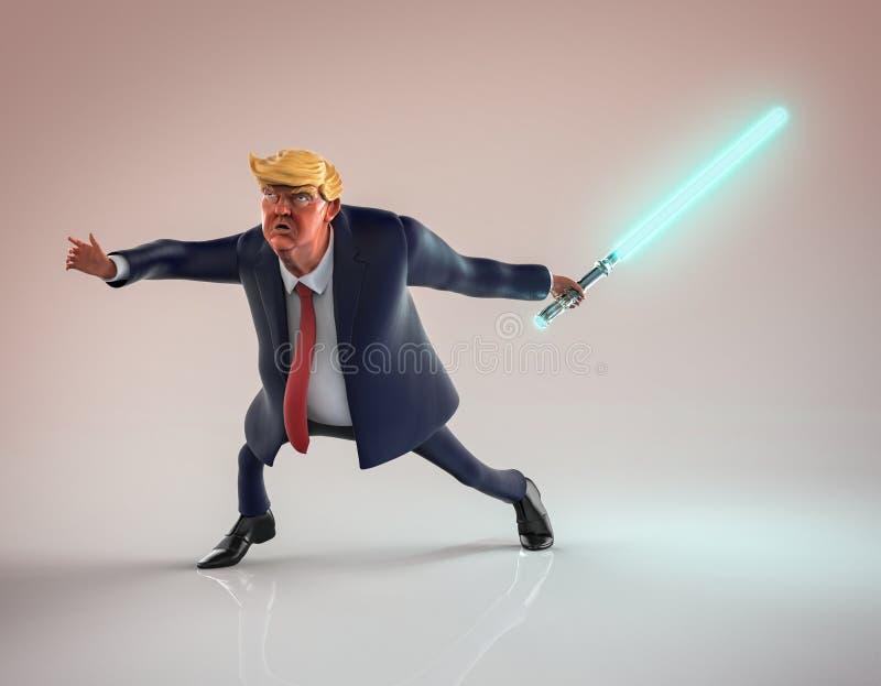 12 novembre 2016: Ritratto del carattere di Donald Trump con la spada laser illustrazione 3D