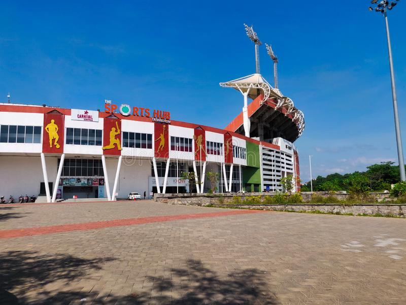 27 novembre 2019: Trivandrum, India- Greenfield International Stadium o The Sports Hub, Trivandrum è uno stadio multifunzionale fotografia stock libera da diritti