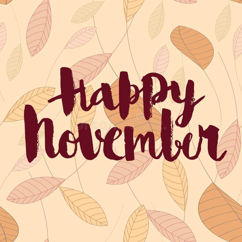 novembro feliz, inscrição caligráfica do vetor ilustração stock