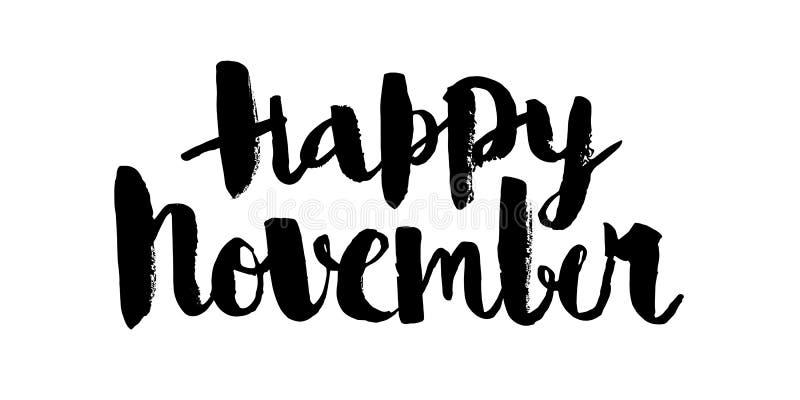 novembro feliz, inscrição caligráfica preta do vetor ilustração do vetor