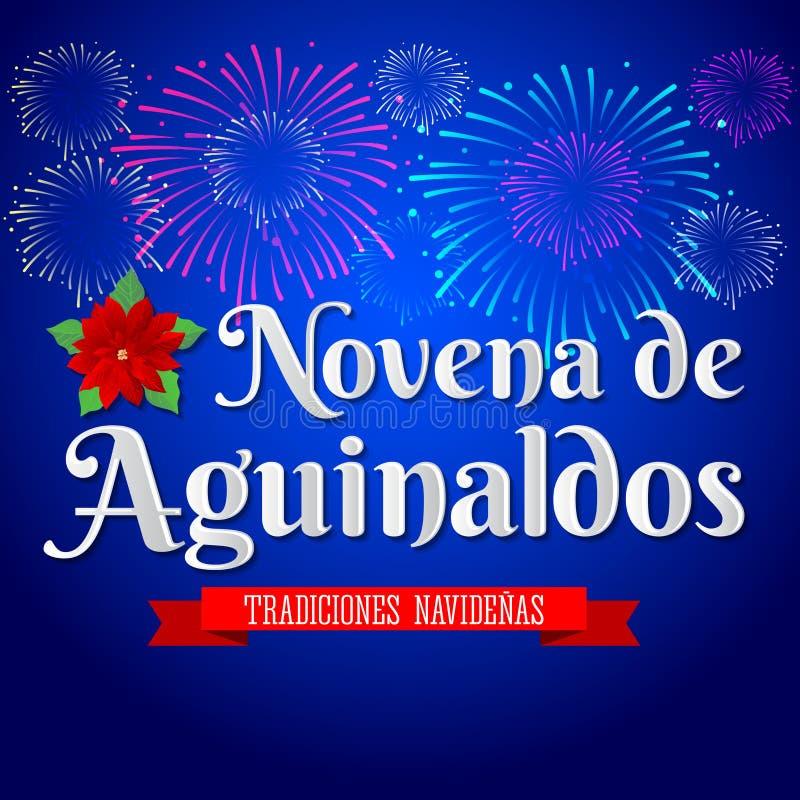 Novena de aguinaldos - tradução espanhola: Nono dos bônus, é uma tradição católica do Natal em Colômbia ilustração royalty free