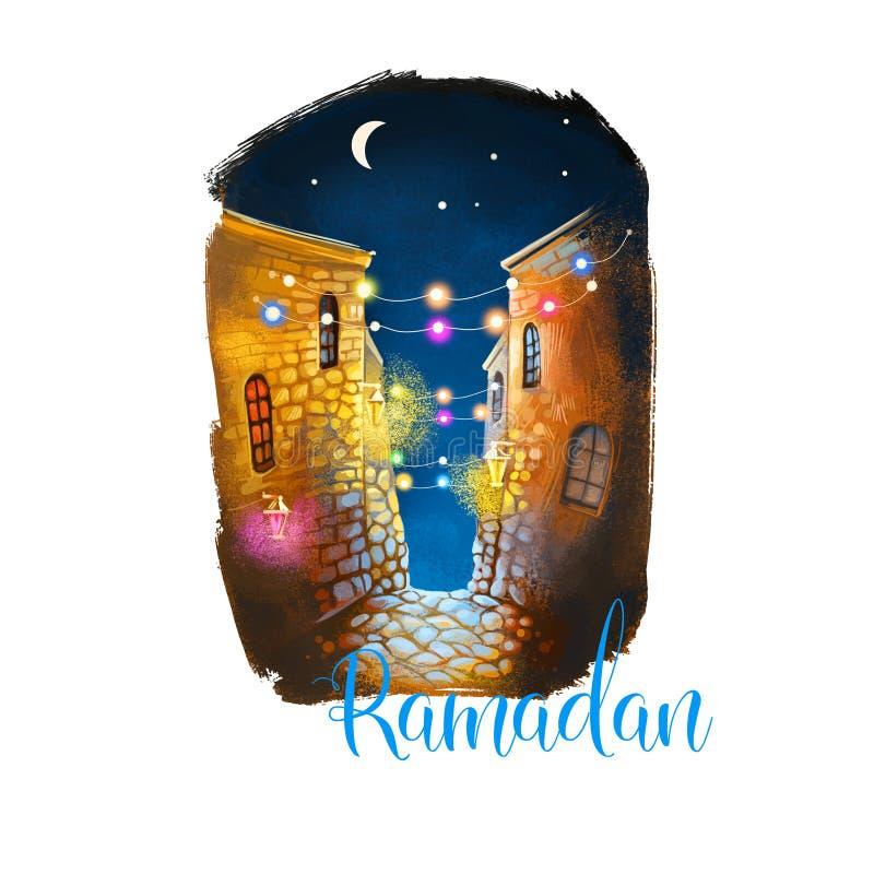 Noveno mes de Ramadan Ramazan, de Ramzan, de Ramadhan, o de Ramathan del calendario islámico, sawm de ayuno de los musulmanes, re ilustración del vector