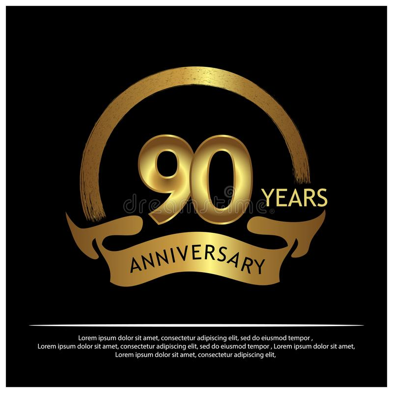 Noventa años de aniversario de oro diseño de la plantilla del aniversario para la web, juego, cartel creativo, folleto, prospecto libre illustration