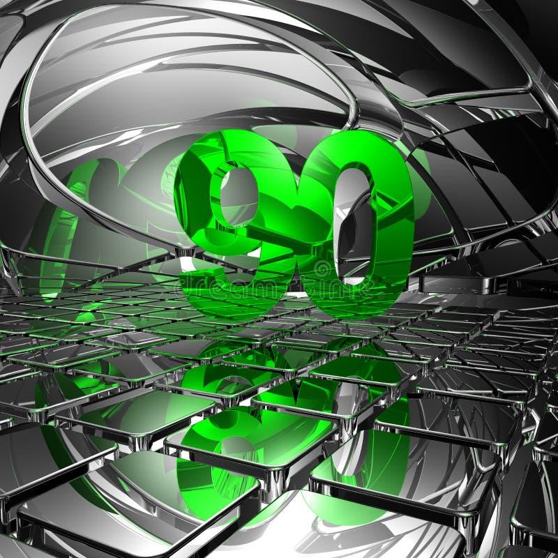 Noventa do número no espaço abstrato do espelho ilustração royalty free