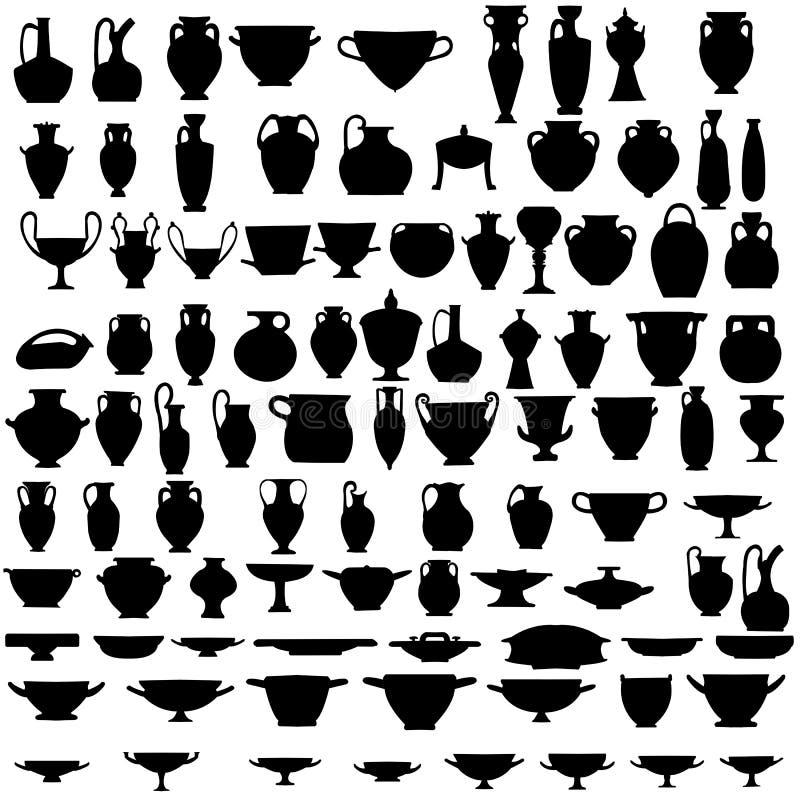 Noventa y cuatro siluetas de cerámica antigua libre illustration