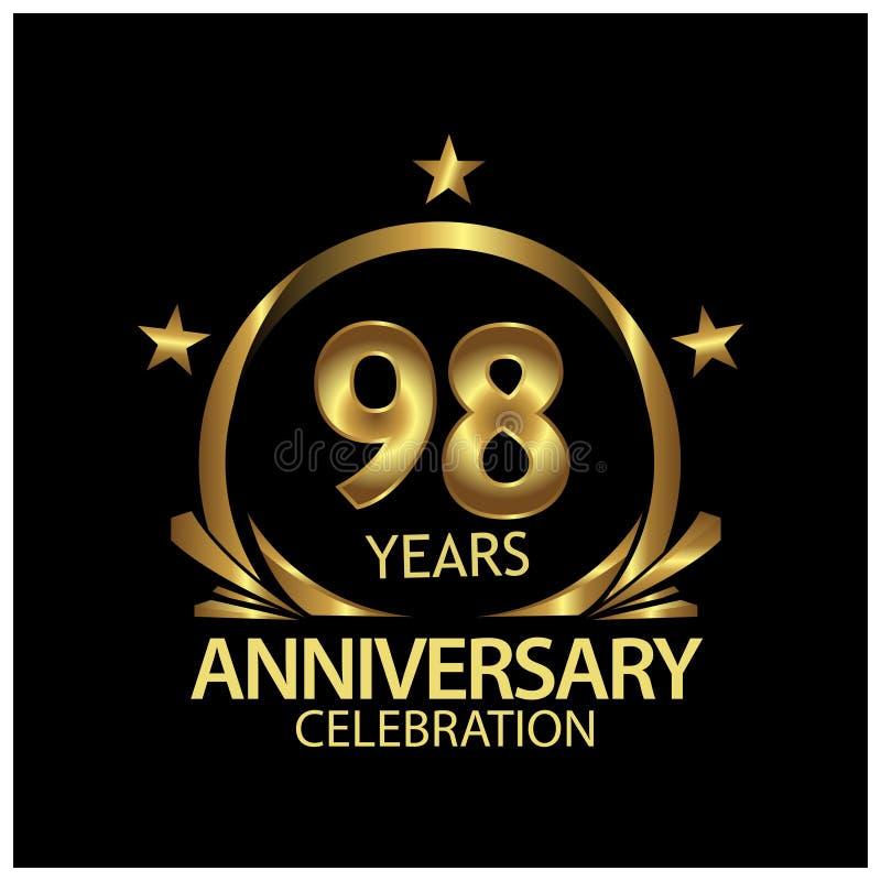 Noventa y ocho años de aniversario de oro dise?o de la plantilla del aniversario para la web, juego, cartel creativo, folleto, pr libre illustration