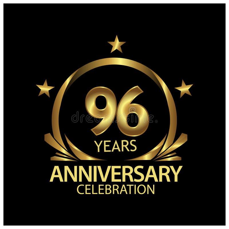 Noventa y seis años de aniversario de oro dise?o de la plantilla del aniversario para la web, juego, cartel creativo, folleto, pr libre illustration