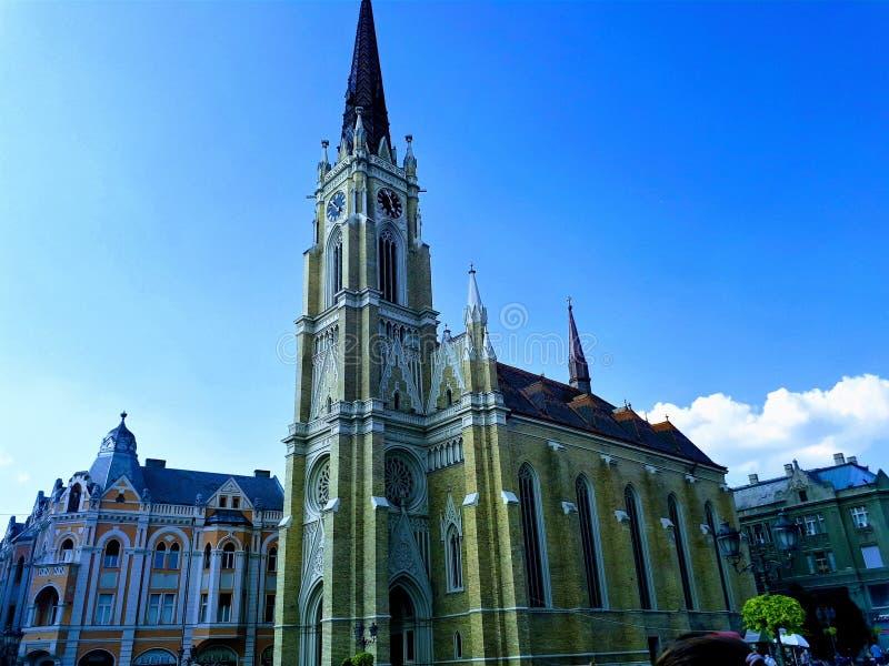 Novi Sad. Catholic Cathedral of the virgin Mary at the Central square in Novi Sad Serbia royalty free stock photo