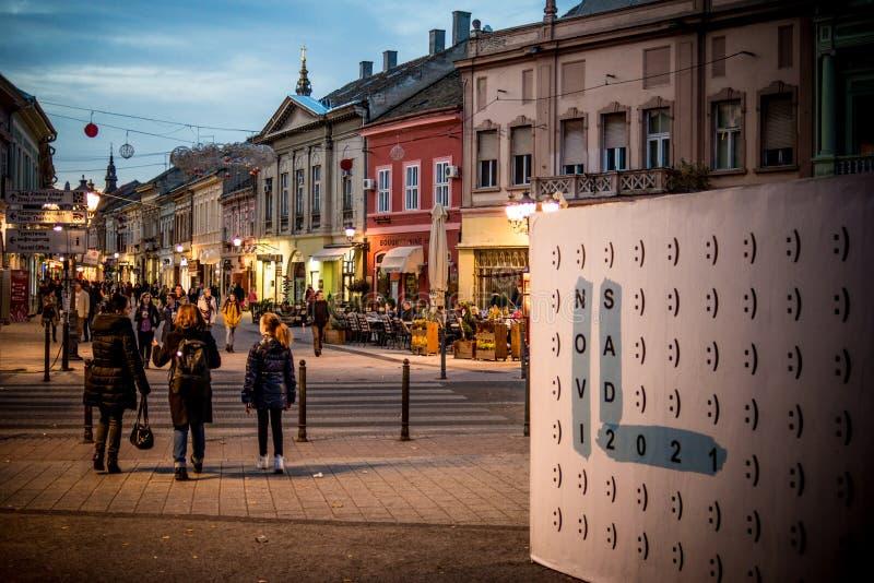 Novi Sad gammal stadmitt royaltyfri bild